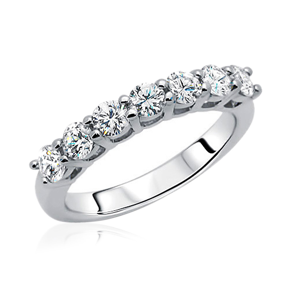 Details About 3Mm Rhodium Plated Sterling Silver Wedding Ring Cz Seven  Stone Anniversary Band Throughout Most Recent Diamond Seven Stone Anniversary Bands In Sterling Silver (Gallery 1 of 25)