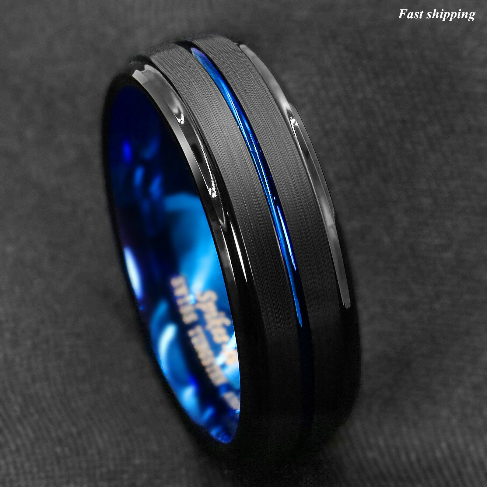 Details About 8Mm Black Brushed Ladder Edge Tungsten Ring Blue Stripe Atop  Mens Wedding Band Within Newest Blue Stripes Rings (View 13 of 25)