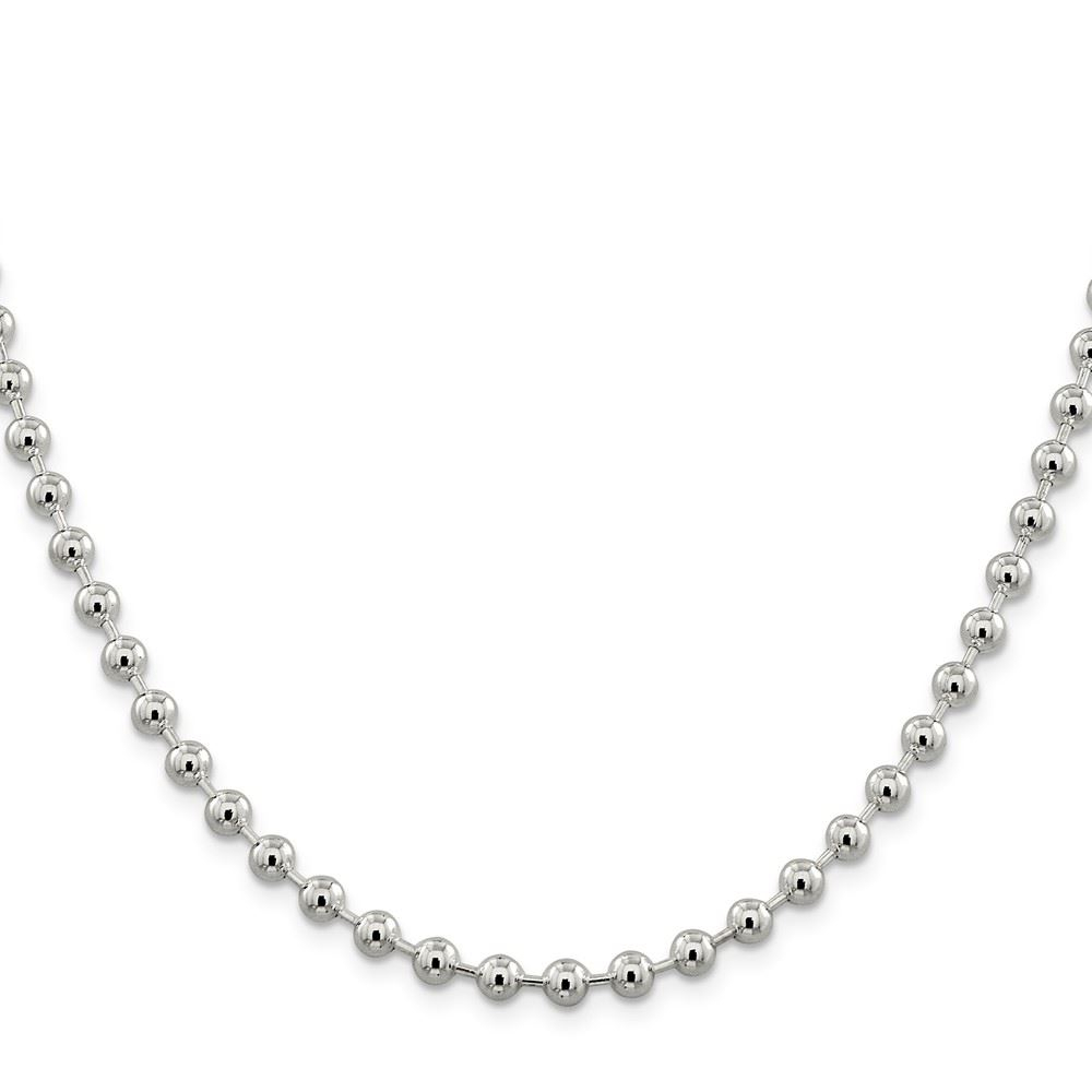 Details About .925 Sterling Silver 5.00Mm Beaded Link Chain Necklace Throughout Newest Beaded Chain Necklaces (Gallery 13 of 25)