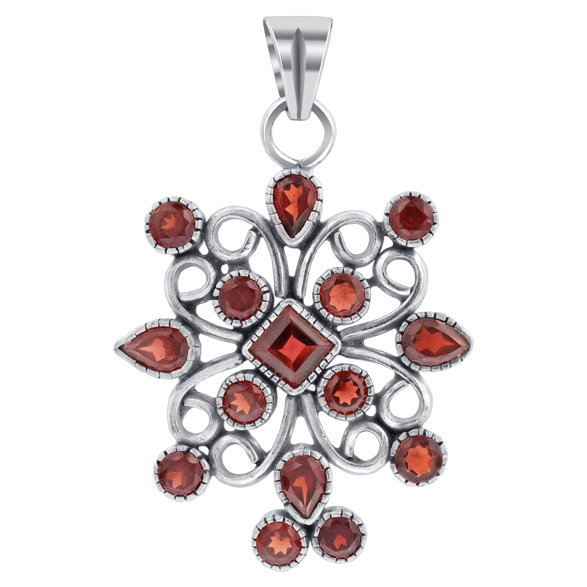 Details About 925 Sterling Silver Garnet January Birthstone Gemstone Flower Pendant #cp013 Regarding Most Current Garnet Red January Birthstone Locket Element Necklaces (View 13 of 25)