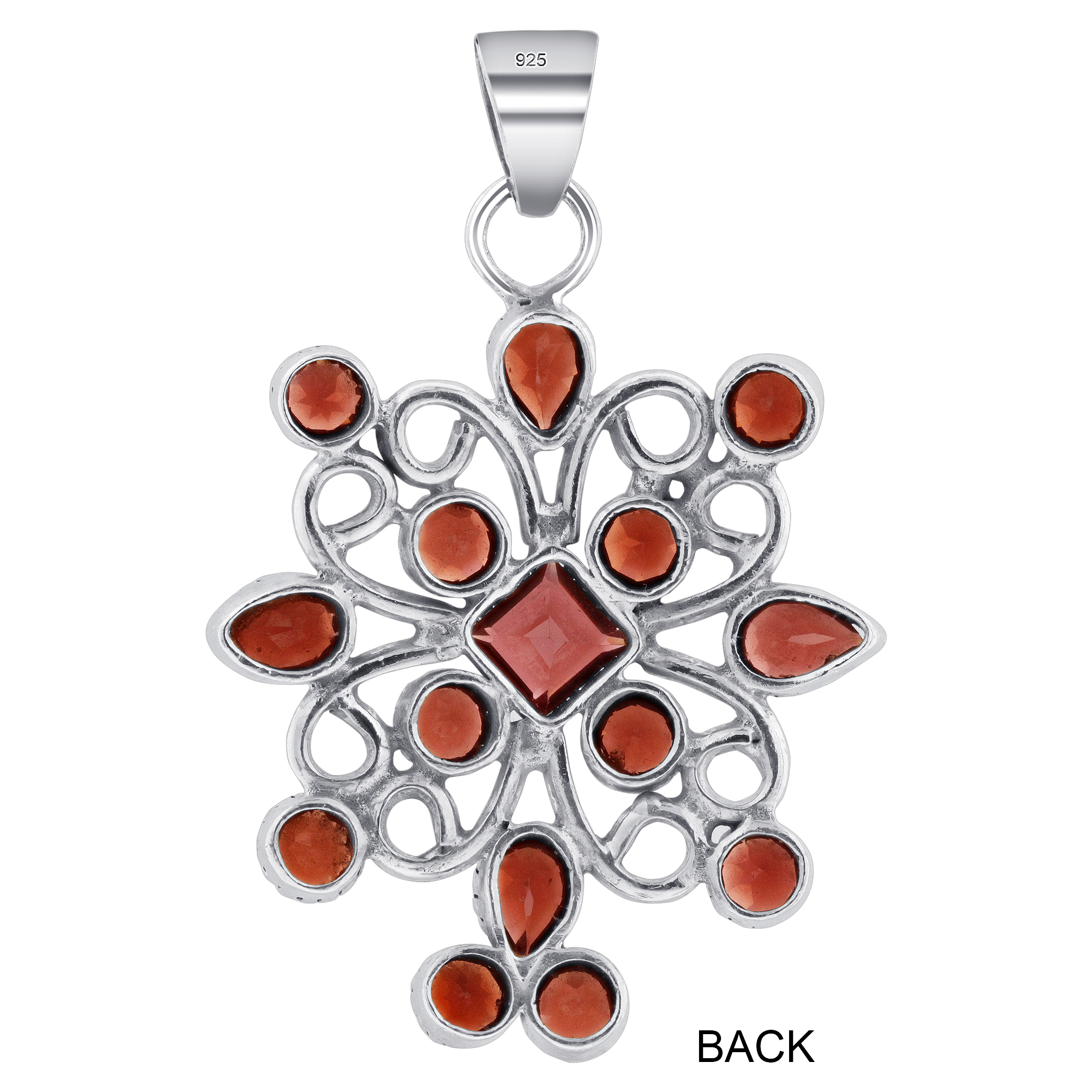 Details About 925 Sterling Silver Garnet January Birthstone Gemstone Flower  Pendant #cp013 With Most Recent Garnet Red January Birthstone Locket Element Necklaces (Gallery 23 of 25)