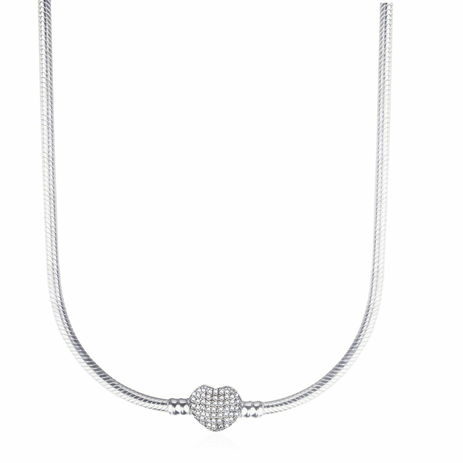 Details About 925 Sterling Silver Necklace Pandora Moments Pave Crystal Heart Snake Chain Inside Most Current Pandora Moments Snake Chain Necklaces (View 11 of 25)