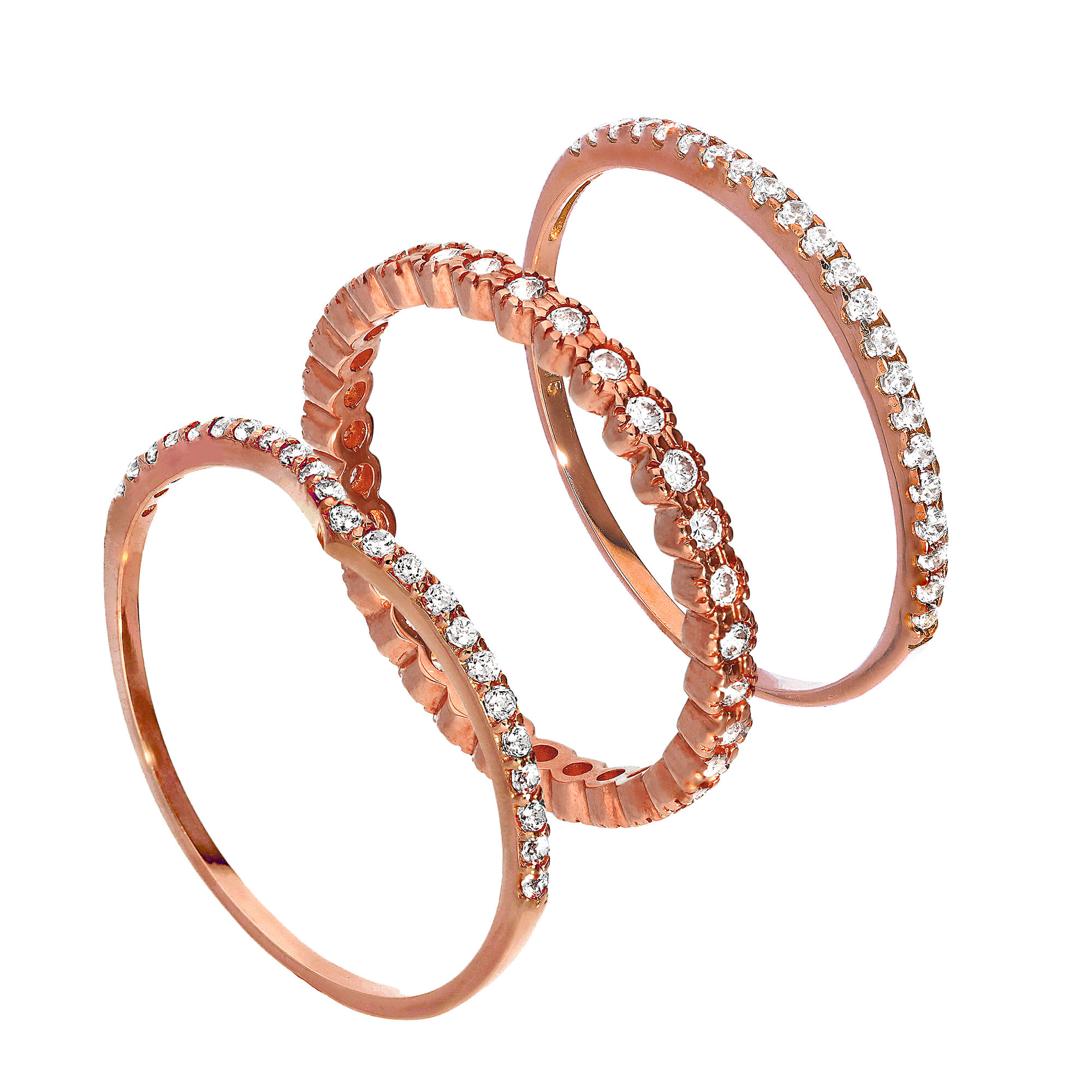 Details About 9ct Rose Gold Wishbone & Eternity Cz Sparkle Stacking Rings Set Valentines Love Throughout Recent Sparkling Wishbone Rings (View 13 of 25)