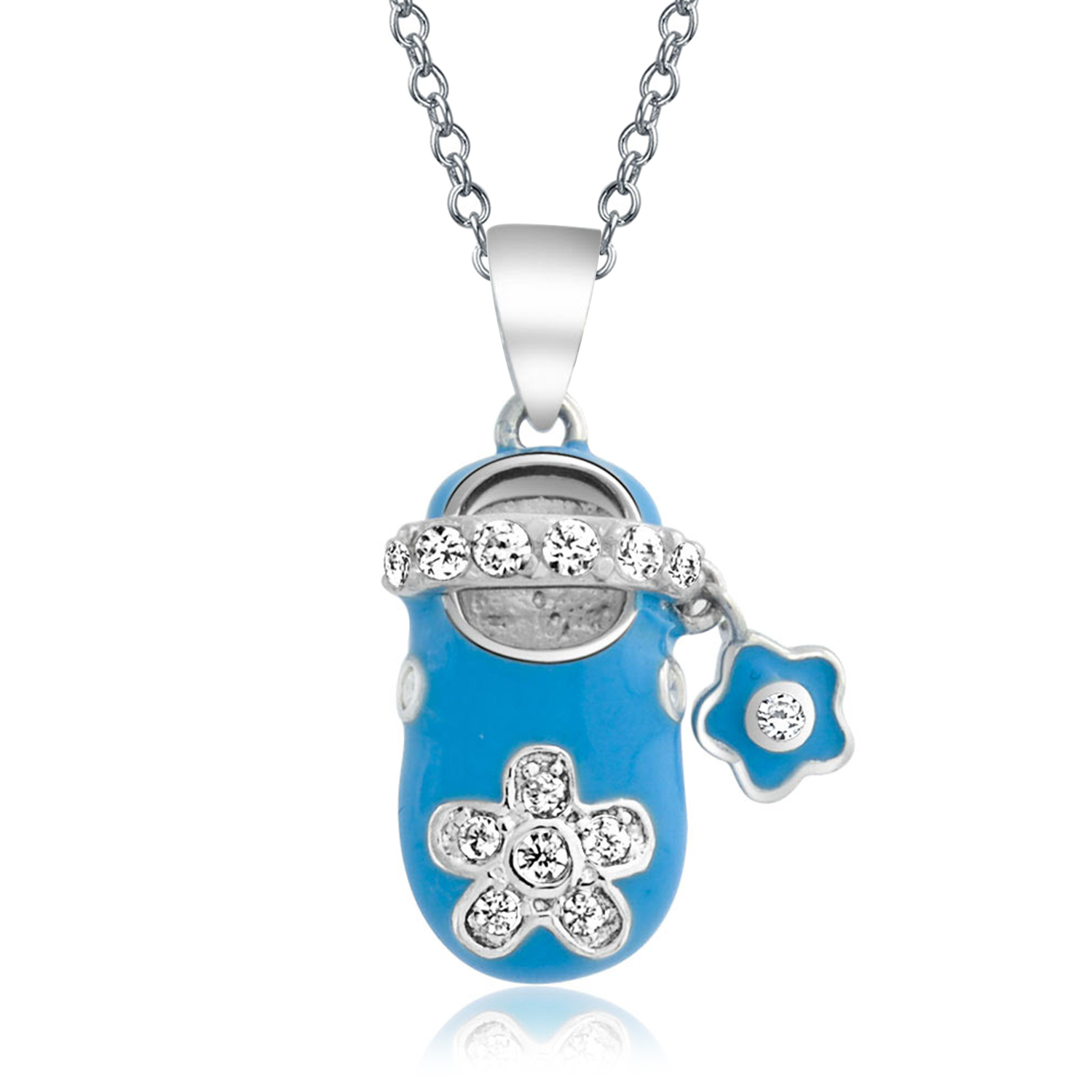 Details About Baby Shoe Charm Pendant Gift For New Mother Blue Cz Flower Sterling Silver Throughout Most Recently Released Baby Blue Enamel Blue Heart Petite Locket Charm Necklaces (View 8 of 25)