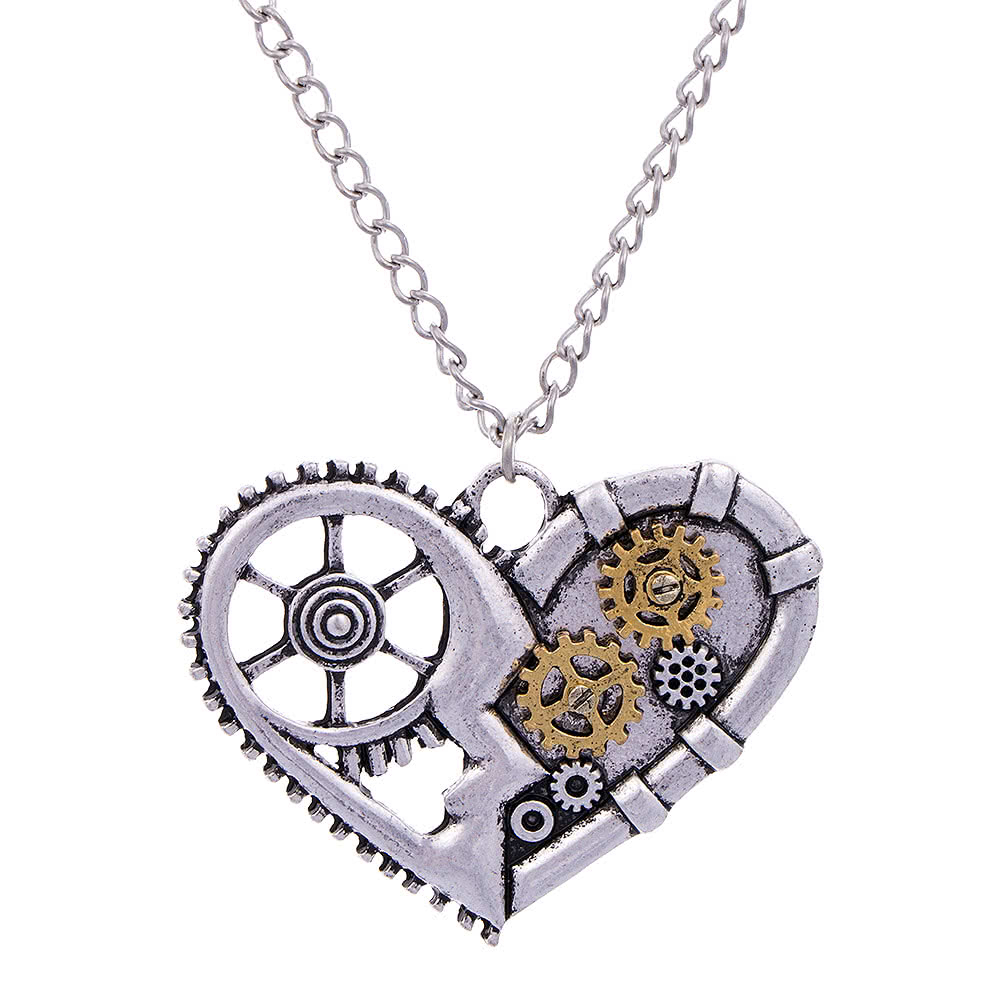 Details About Blue Banana Steampunk Vintage Mechanical Gear Heart Cogs  Silver Pendant Necklace In Recent Heart Fan Pendant Necklaces (View 5 of 25)