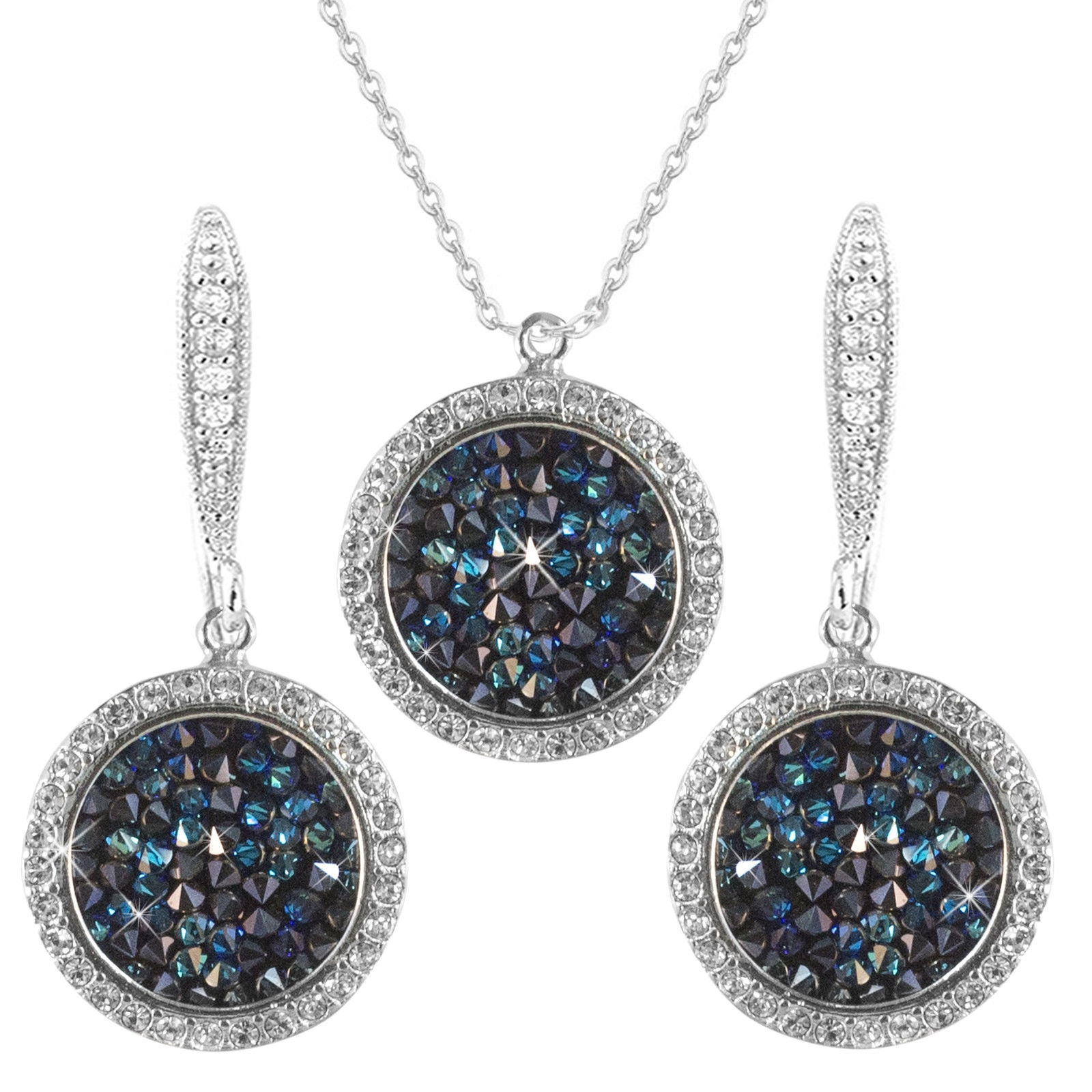 Details About Blue Swarovski Element Crystals 14K Silver Solitaire Drops  Necklace Earrings Set Inside Recent Shimmering Snowflake Locket Element Necklaces (Gallery 20 of 25)