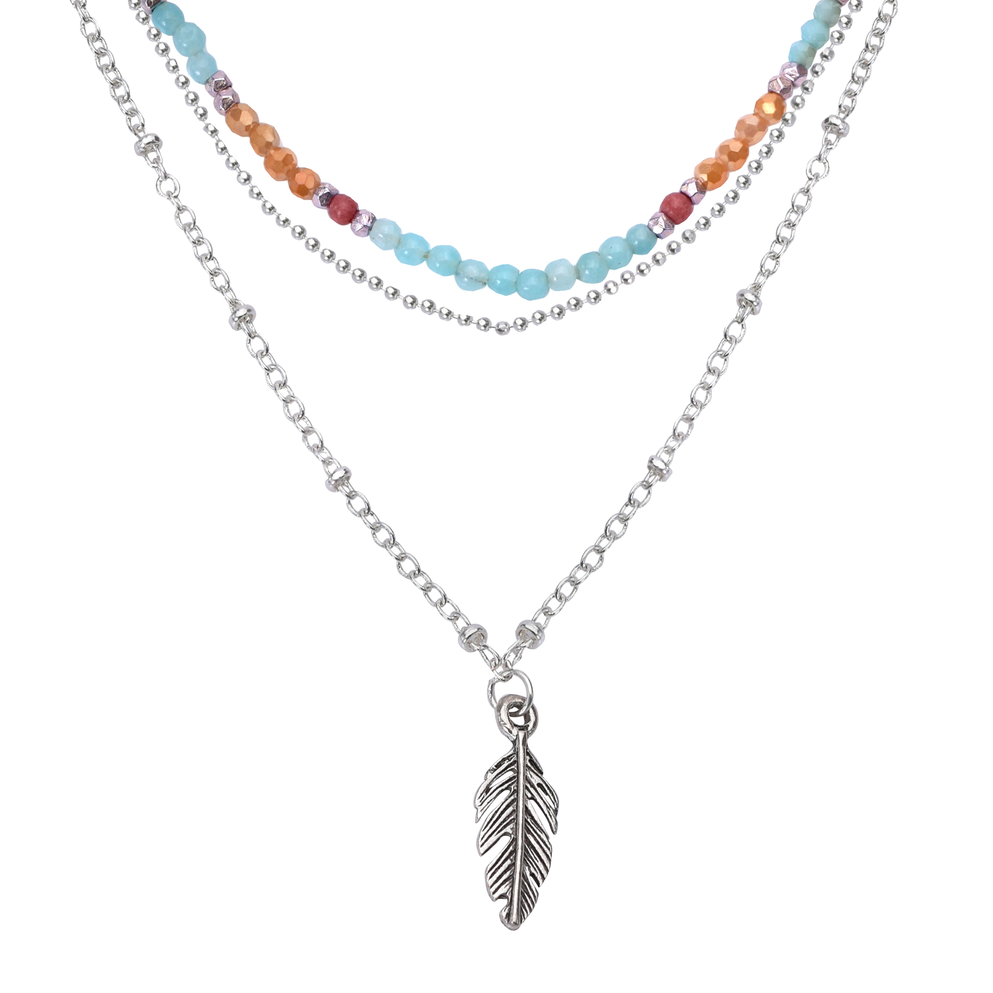Details About Boho Chic Silver Feather Pendant With Multi Colored Quartz Layered Necklace Throughout Recent Single Feather Pendant Necklaces (View 18 of 25)