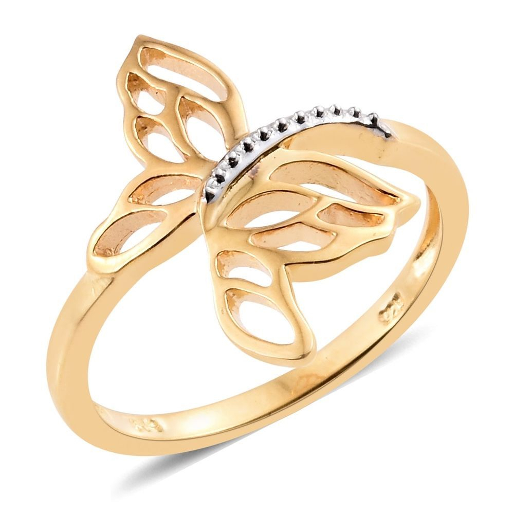 Details About Butterfly Openwork Open Frame 14k Yellow Gold Over Regarding Most Up To Date Openwork Butterfly Rings (View 17 of 25)