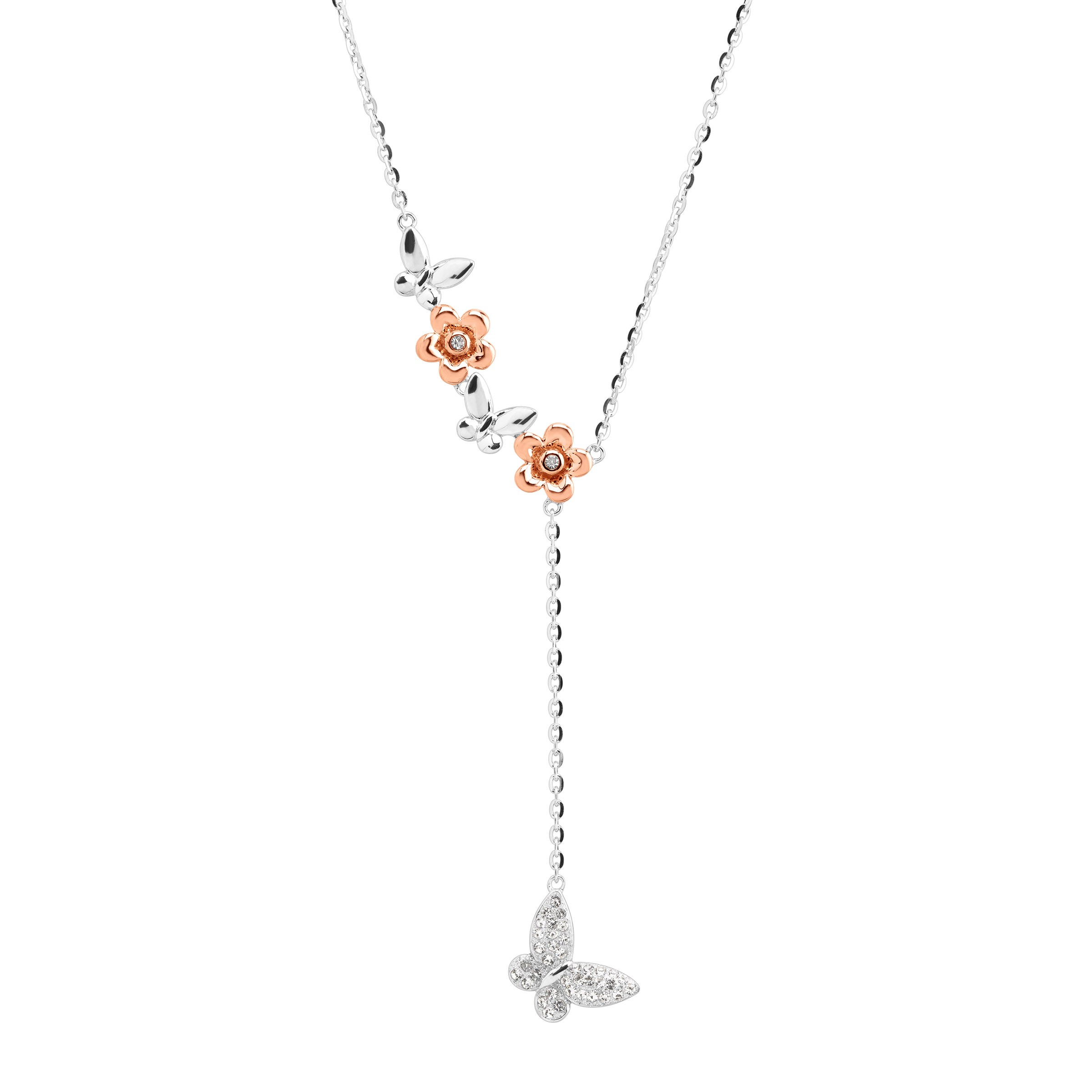 Details About Crystaluxe Two Tone Butterfly Lariat Necklace With Swarovski  Crystals In Silver With Regard To Newest Sparkling Butterfly Y  Necklaces (Gallery 8 of 25)