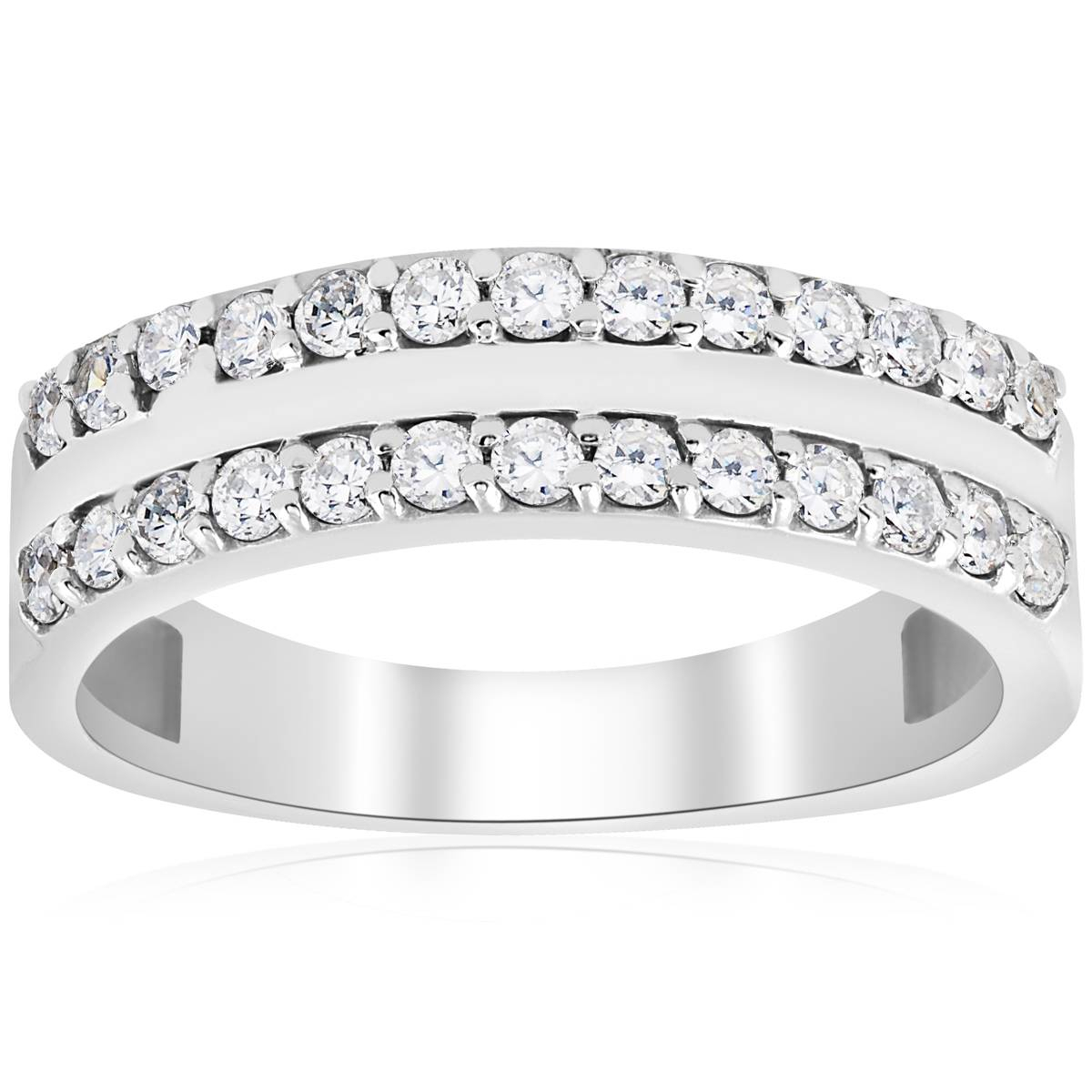 Details About Diamond Wedding Ring 3/4 Ct Double Row Half Eternity Womens  14K White Gold Band Intended For Best And Newest Diamond Five Stone Triple Row Anniversary Bands In White Gold (View 12 of 25)
