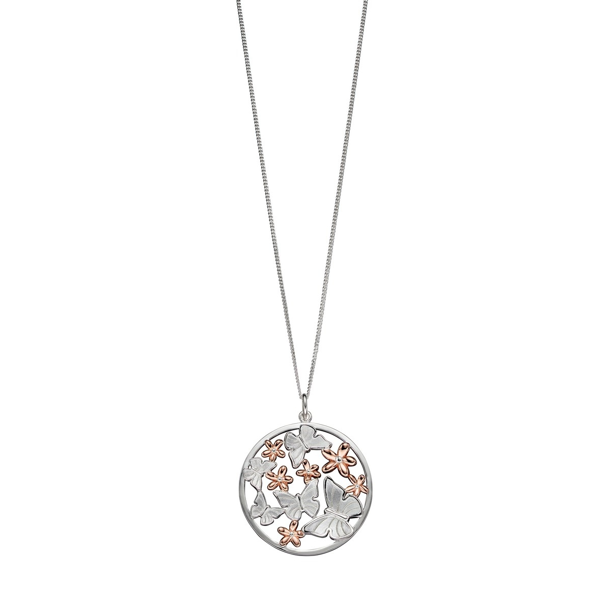 Details About Elements Silver Satin Finish Butterfly Rose Gold Flowers  Pendant P4701 With Current Classic Flower Locket Element Necklaces (Gallery 8 of 25)