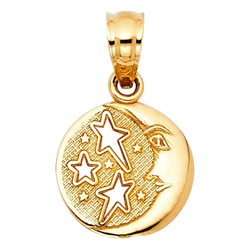 Details About Fancy Charm Solid 14k Italian Real Gold Yellow Sun Moon Stars Round 10mm Pendant Regarding Best And Newest Polished Moon & Star Pendant Necklaces (View 13 of 25)
