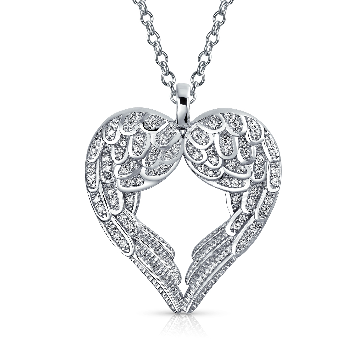 Details About Guardian Angel Wing Heart Pave Cubic Zirconia Sterling Silver  Pendant Necklace Regarding Most Recently Released Angel Wing Pendant Necklaces (View 11 of 25)