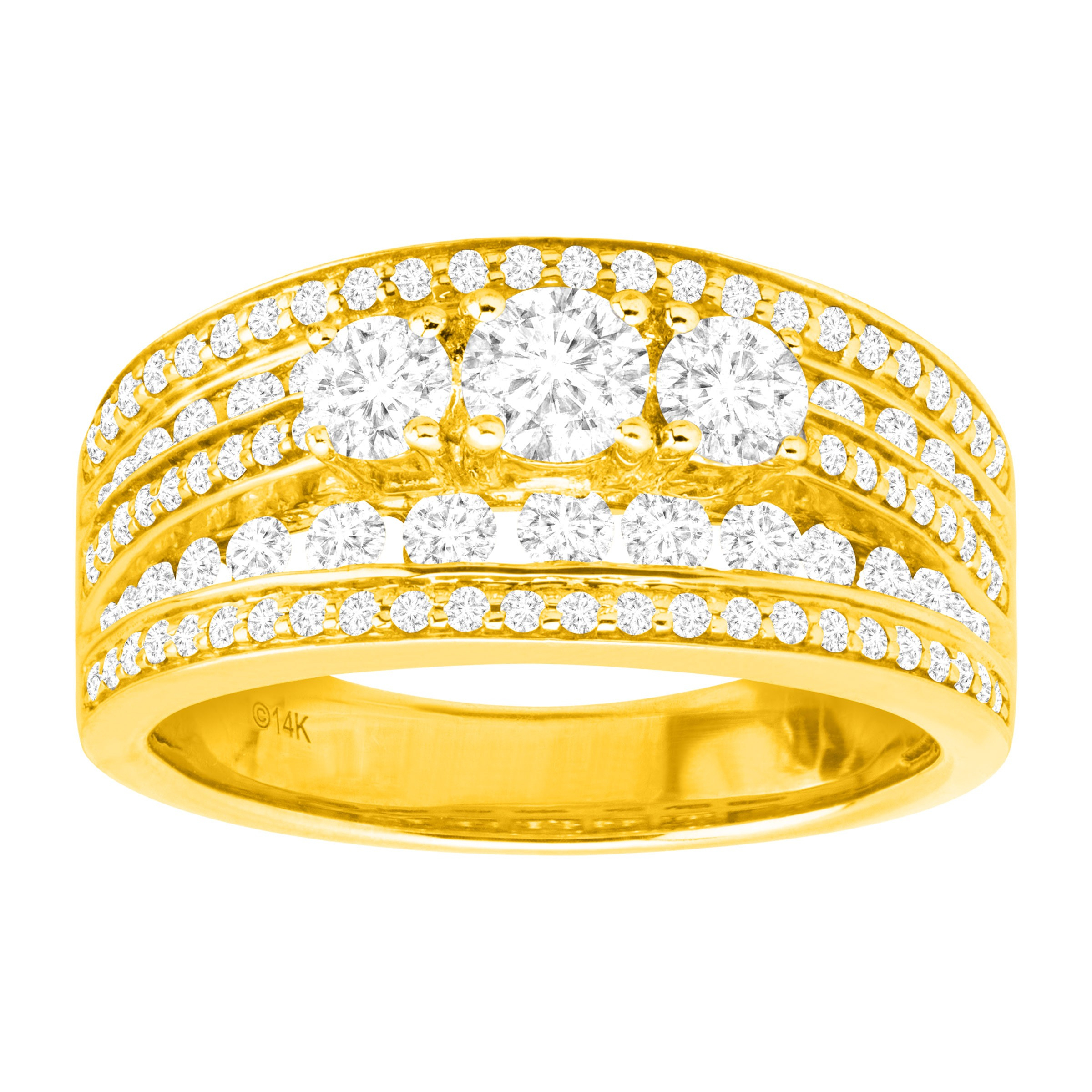 Details About Igi Certified 1 1/2 Ct Diamond Multi Band Anniversary Ring In  14K Gold With Regard To Recent Certified Diamond Anniversary Bands In Gold (View 10 of 25)