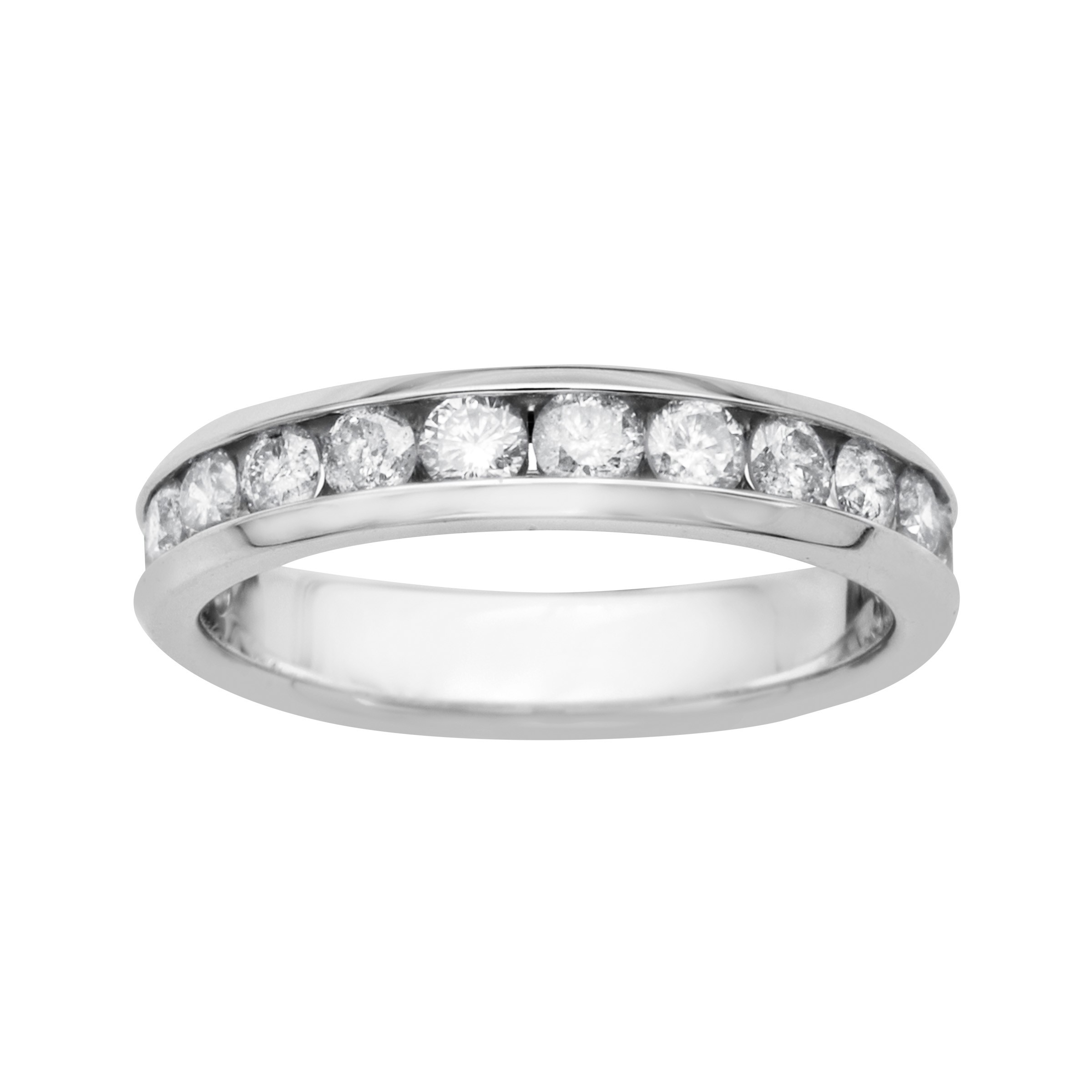 Details About Igi Certified 1 Ct Diamond Anniversary Band In 14K White Gold Intended For Most Current Diamond Contour Anniversary Bands In White Gold (Gallery 13 of 25)