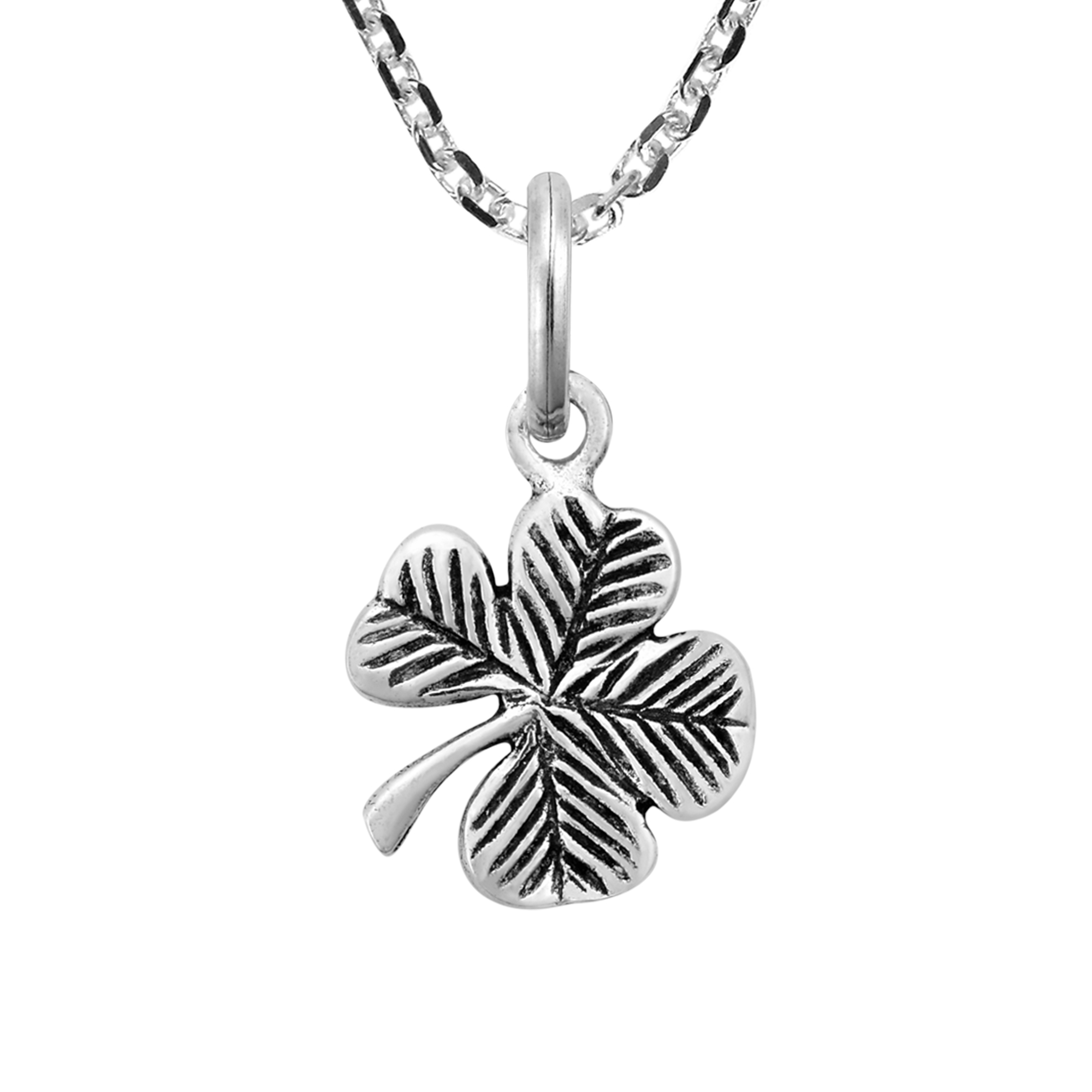 Details About Lucky Charm Sterling Silver Four Leaf Clover Pendant Necklace Intended For Most Popular Shining Leaf Pendant Necklaces (View 15 of 25)