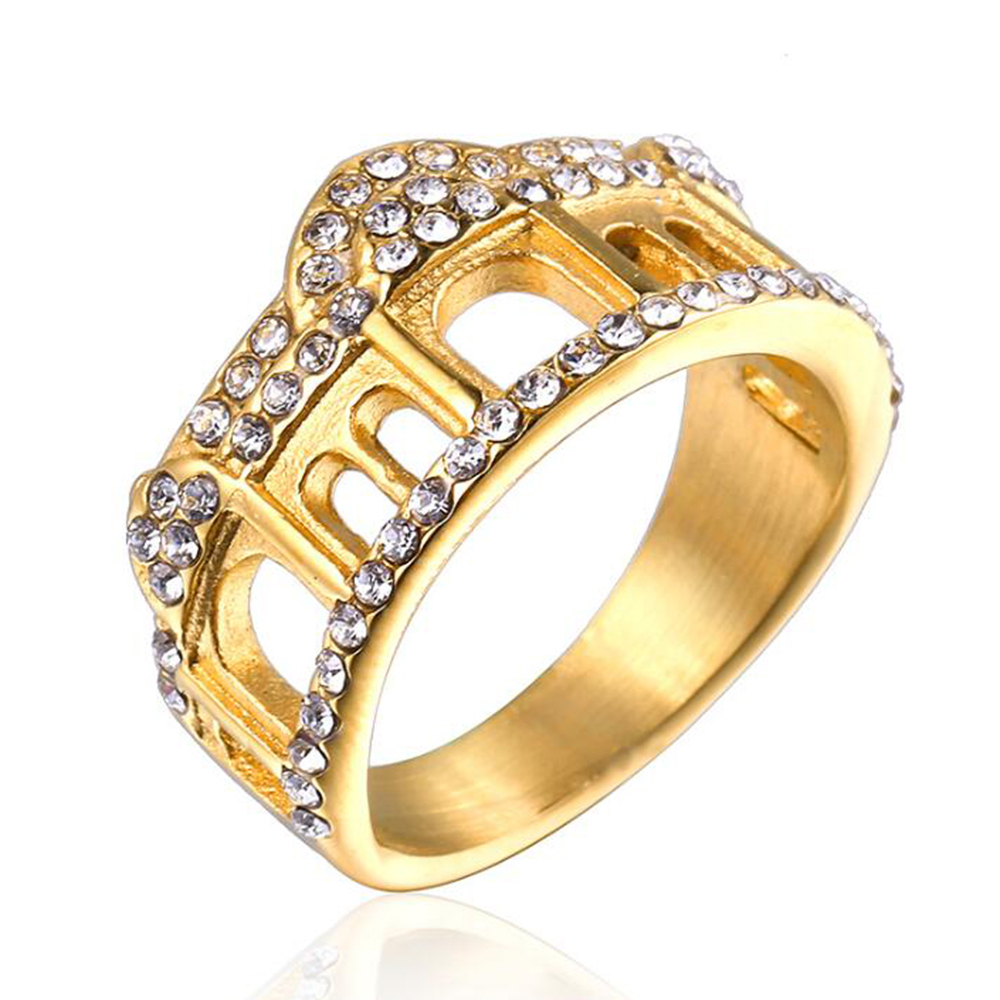 Details About Men Women Gold Polished Crystal Zircon Crown Titanium Steel  Finger Rings Jewelry In Most Current Polished Crown Rings (View 11 of 25)