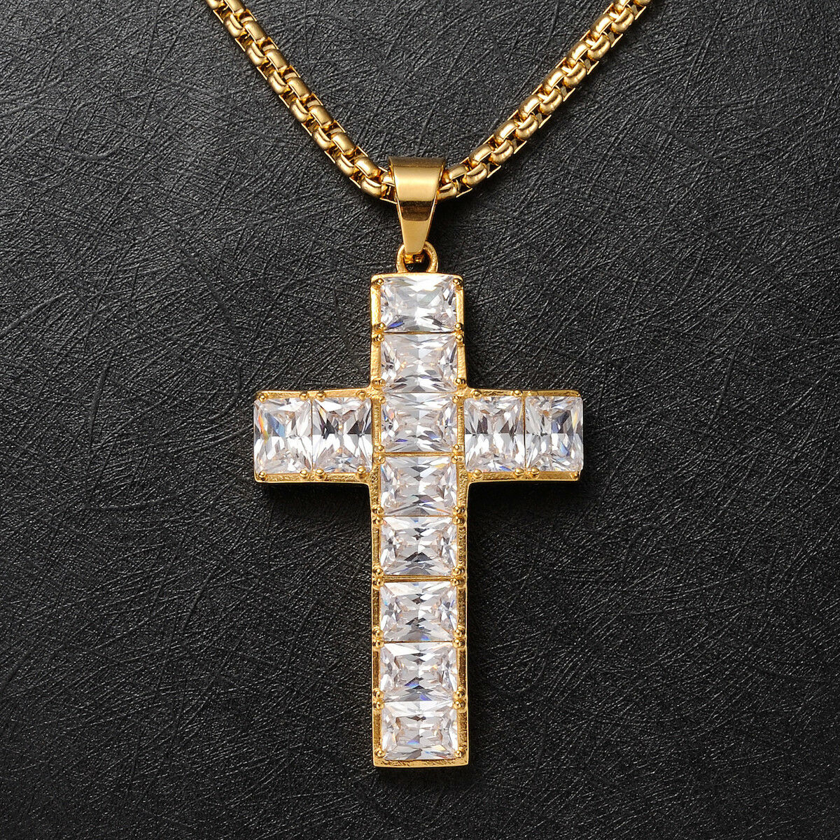 Details About Mens 18 Yellow Gold Filled Sparkling Large Cross Pendant Necklace Jewellery 60cm In Newest Sparkling Cross Pendant Necklaces (View 8 of 25)