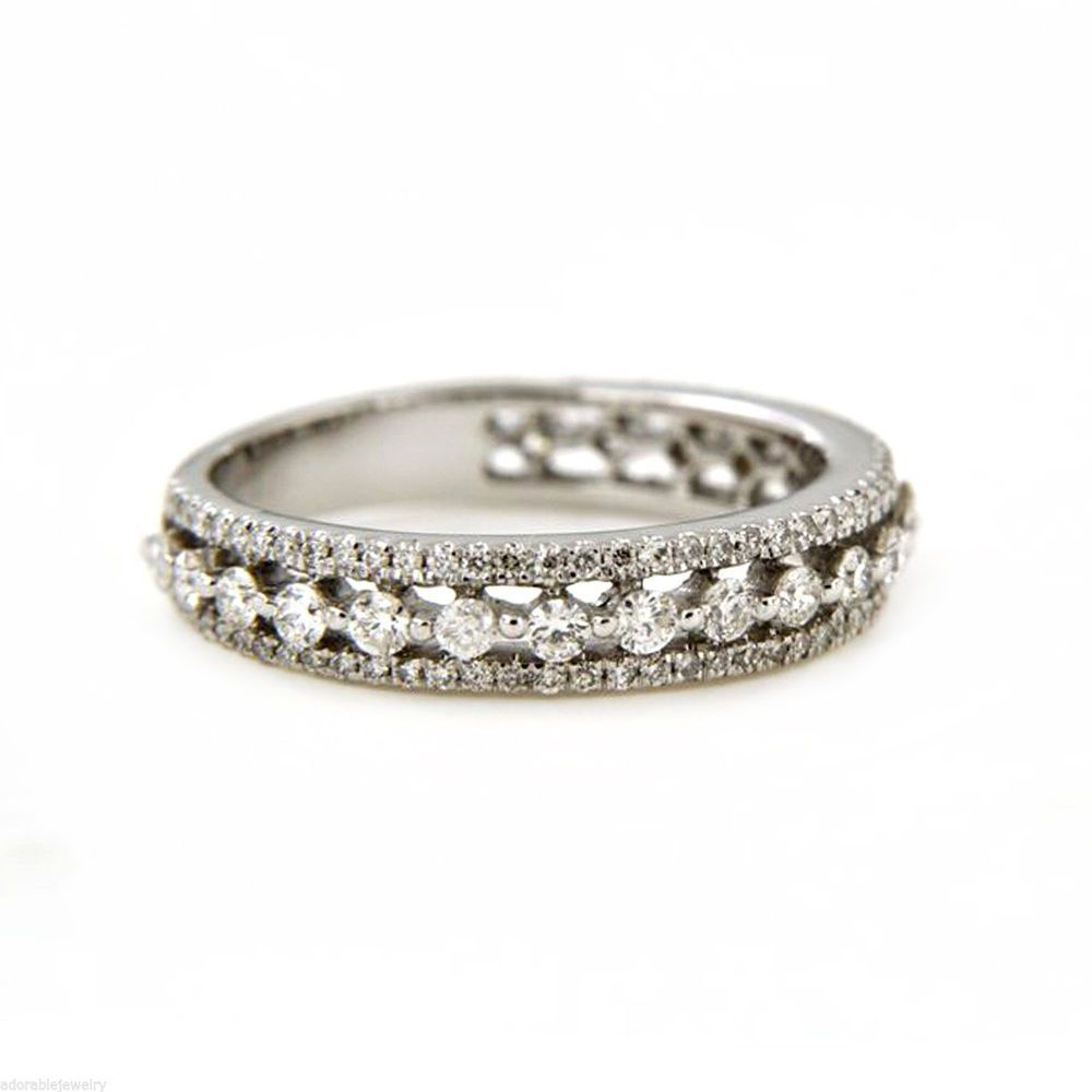 Details About Natural Diamond Engagement & Wedding Eternity In Most Popular Diamond Vintage Style Anniversary Bands In Sterling Silver (View 10 of 25)