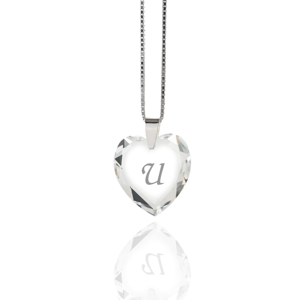 Details About Necklace 925 Silver Made With Swarovski Elements Heart , Free Letter Selection For Best And Newest Letter U Alphabet Locket Element Necklaces (View 16 of 25)