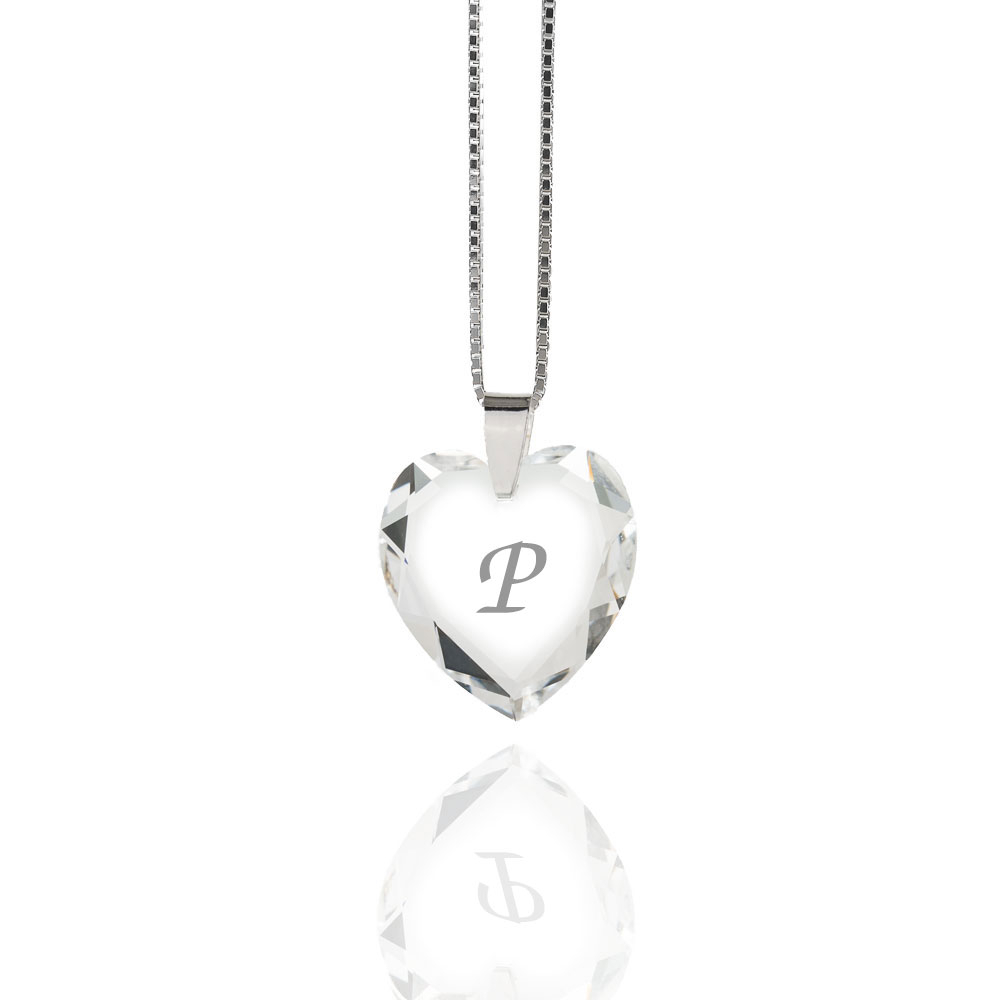 Details About Necklace 925 Silver Made With Swarovski Elements Heart , Free  Letter Selection Inside 2019 Letter P Alphabet Locket Element Necklaces (View 5 of 26)