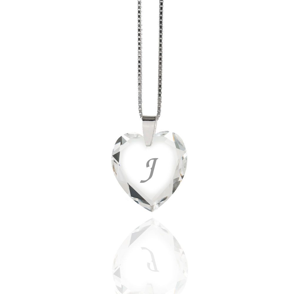 Details About Necklace 925 Silver Made With Swarovski Elements Heart , Free  Letter Selection Inside Newest Letter J Alphabet Locket Element Necklaces (Gallery 21 of 25)