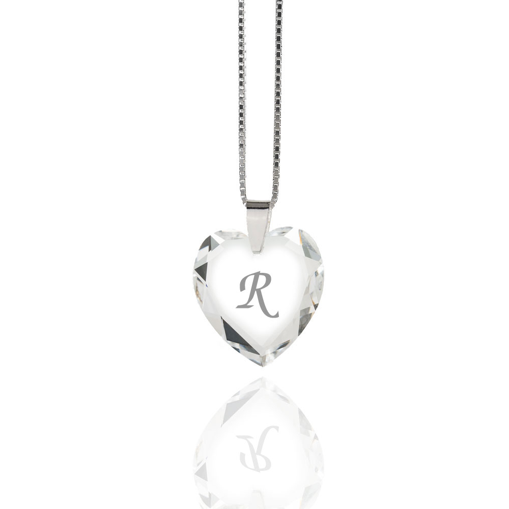 Details About Necklace 925 Silver Made With Swarovski Elements Heart , Free  Letter Selection With Regard To 2019 Letter R Alphabet Locket Element Necklaces (Gallery 24 of 25)