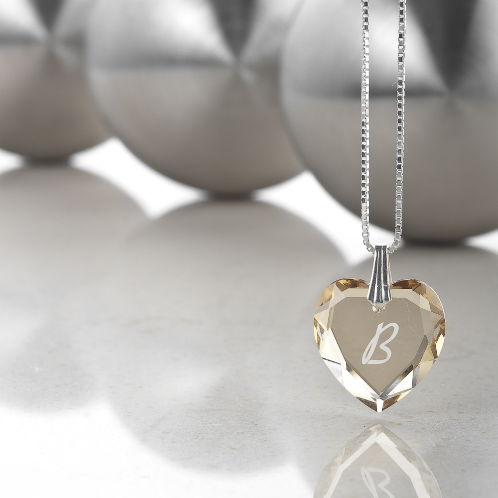 Details About Necklace 925 Silver Made With Swarovski Elements Heart , Free Letter Selection With Regard To 2020 Letter U Alphabet Locket Element Necklaces (View 18 of 25)