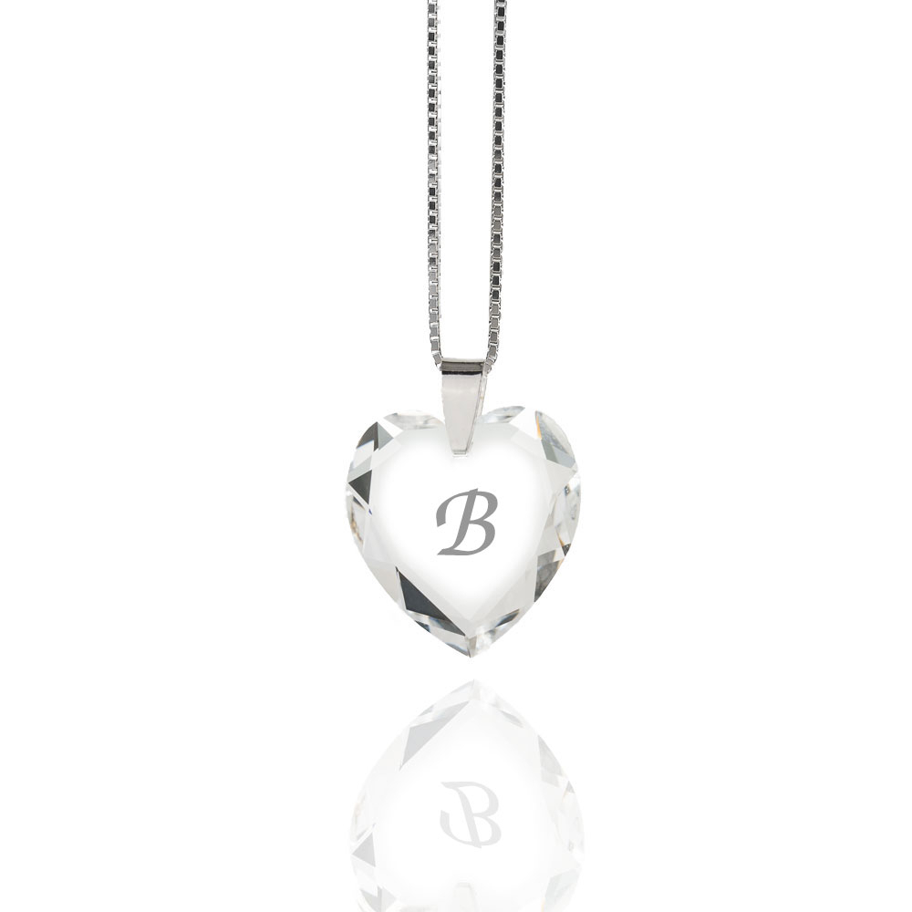 Details About Necklace 925 Silver Made With Swarovski Elements Heart , Free  Letter Selection Within 2019 Letter B Alphabet Locket Element Necklaces (View 6 of 25)