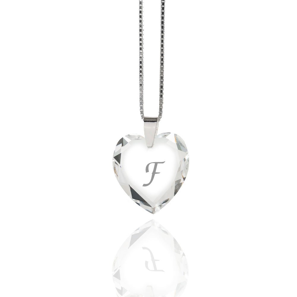 Details About Necklace 925 Silver Made With Swarovski Elements Heart , Free  Letter Selection Within 2019 Letter F Alphabet Locket Element Necklaces (Gallery 24 of 25)