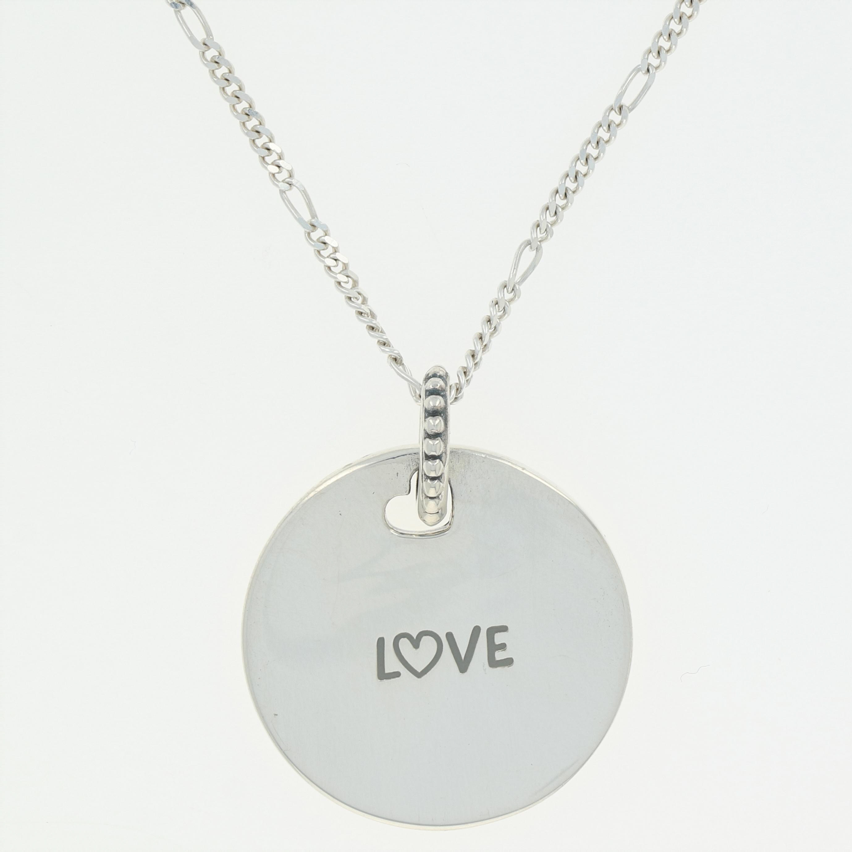"Details About New Authentic Pandora Love Disc Necklace 23.6"" Sterling  Silver Eng397122_1 60 Intended For 2019 Pandora Logo Circle Necklaces (Gallery 19 of 25)"