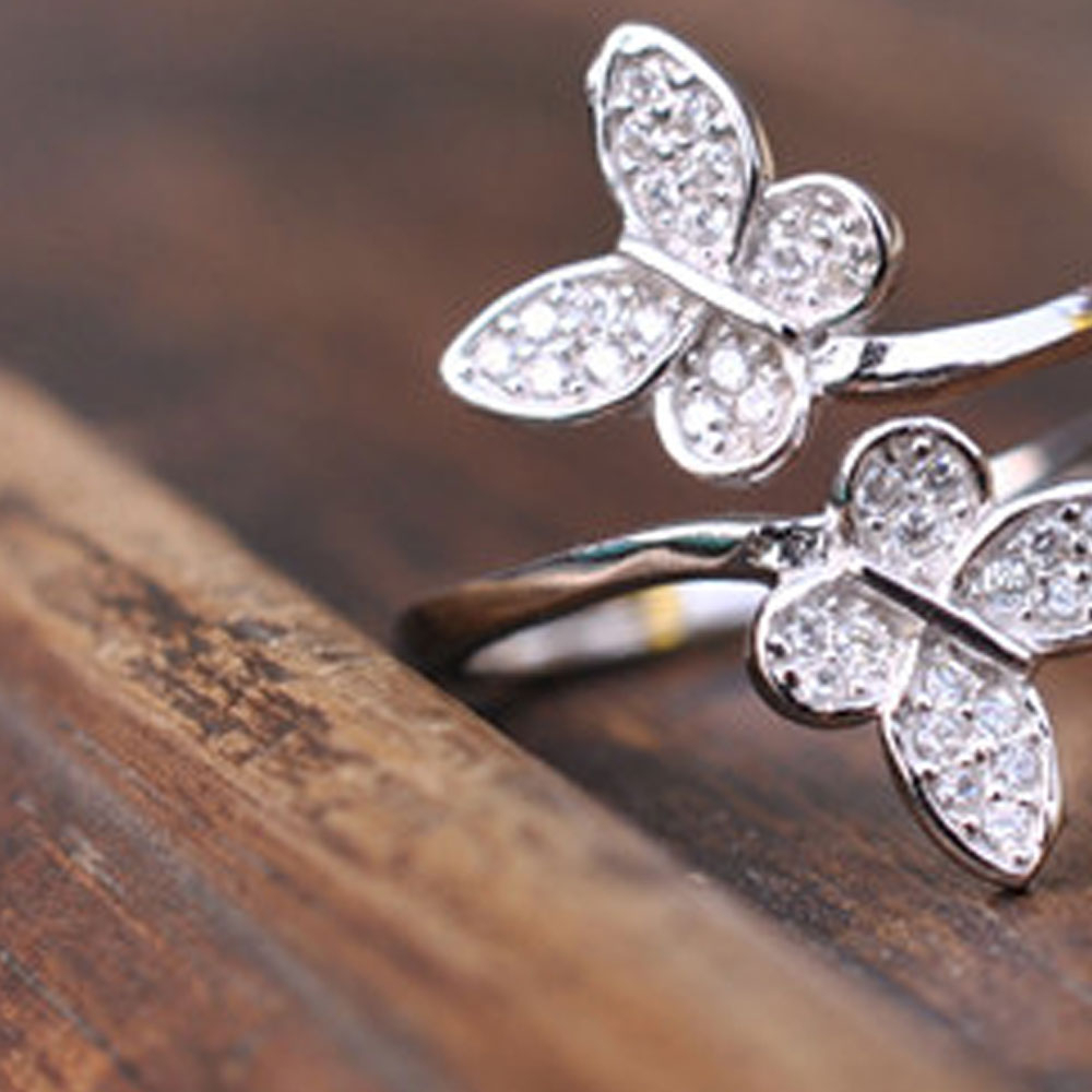 Details About Open Ring Double Butterfly Ring Adjustable Thumb Finger Toe  Butterfly Jewellery In Latest Butterfly Open Rings (Gallery 10 of 25)