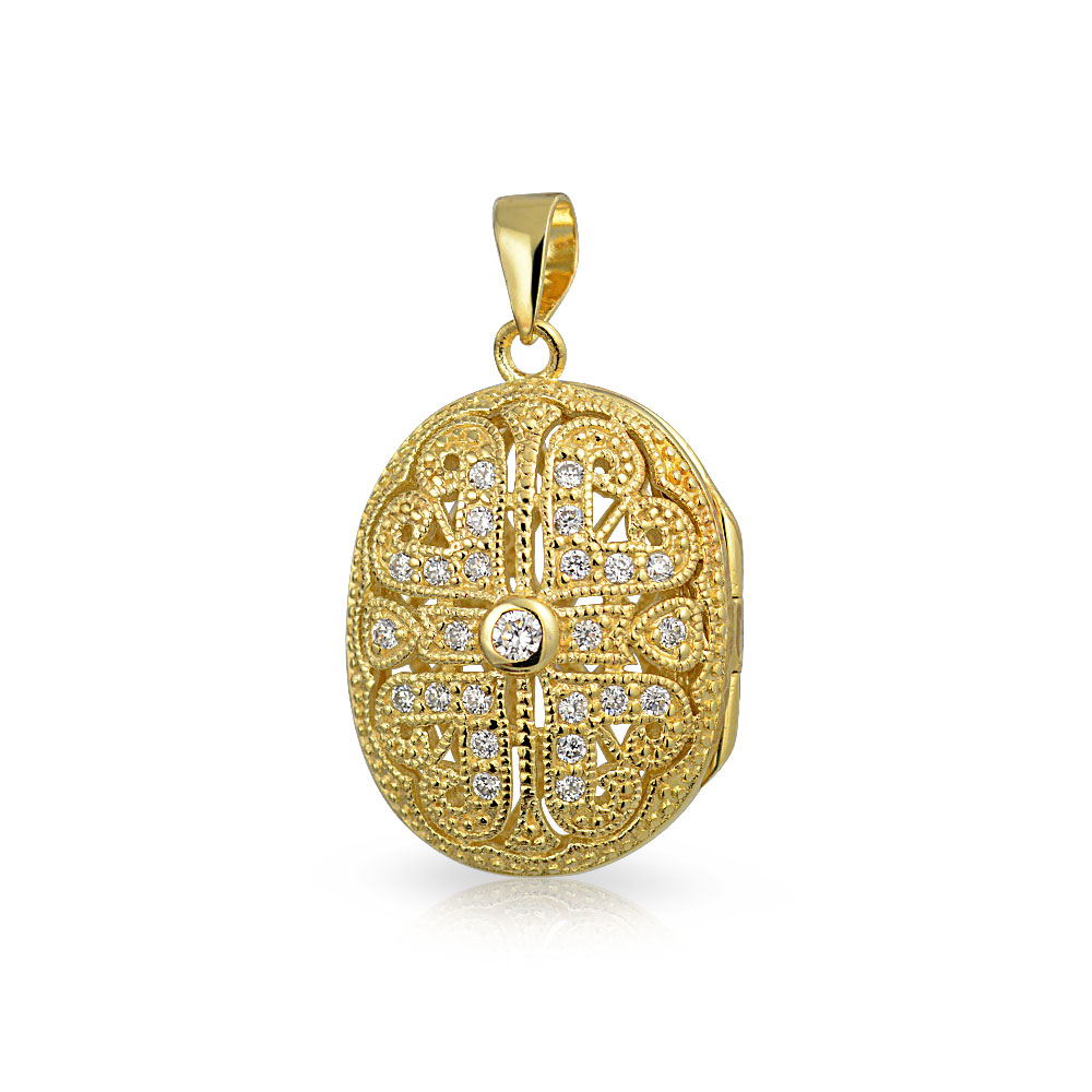 Details About Oval Heart Locket Pendant Filigree Cz Necklace 14k Gold Plate Sterling Silver Within Most Current Heart Locket Plate Necklaces (View 13 of 25)