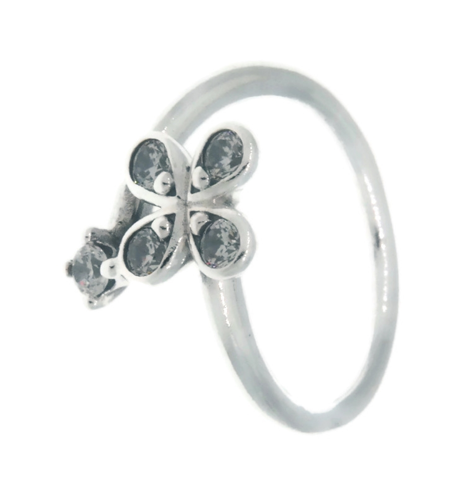 Details About Pandora Four Petal Flower 925 Sterling Silver Ring Eur 54,  Us 7 197988Cz 54 Regarding Most Popular Four Petal Flower Rings (View 8 of 25)