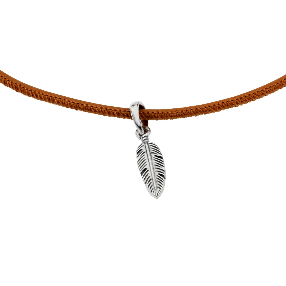 Details About Pandora Golden Tan Leather Choker Necklace With Feather  Pendant 397197Cgt38 In Most Up To Date Golden Tan Leather Feather Choker Necklaces (View 7 of 25)