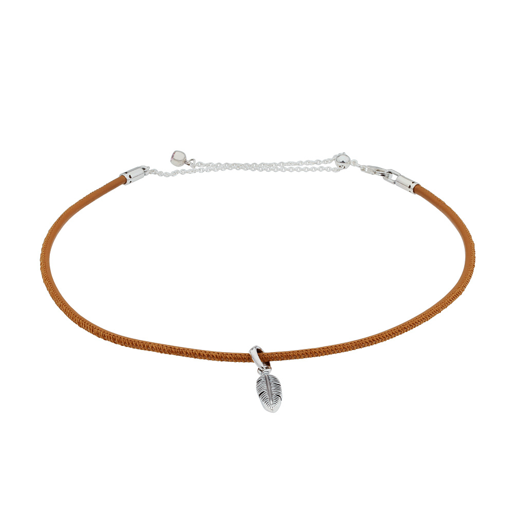 Details About Pandora Golden Tan Leather Choker Necklace With Feather  Pendant 397197Cgt38 Intended For 2019 Golden Tan Leather Feather Choker Necklaces (View 8 of 25)
