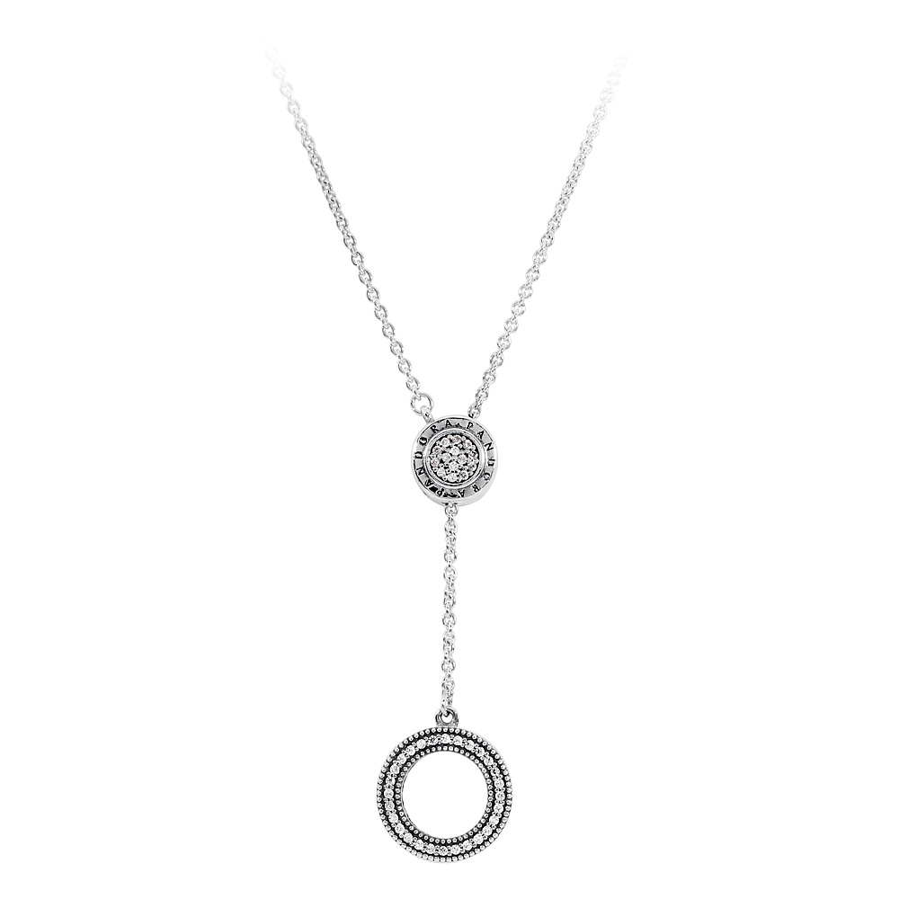 Details About Pandora Logo Silver Necklace With Clear Cubic Zirconia  397445Cz70 For Most Popular Pandora Logo Pendant Necklaces (Gallery 20 of 25)