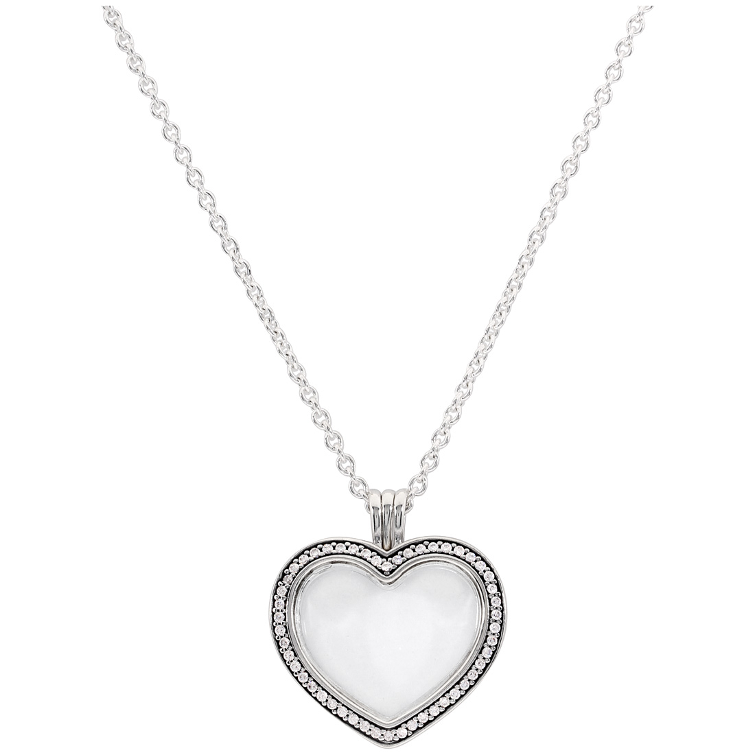 Details About Pandora Sparkling Floating Heart Locket Necklace 397230cz60 Inside Latest Pandora Lockets Sparkling Necklaces (View 7 of 25)
