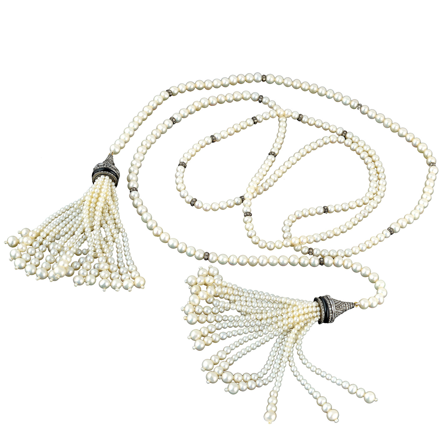 Details About Pave Diamond Sapphire Onyx Pearl Beads 18k Gold Rope/lariat Necklace 925 Silver In Most Popular Beads & Pavé Necklaces (Gallery 3 of 25)
