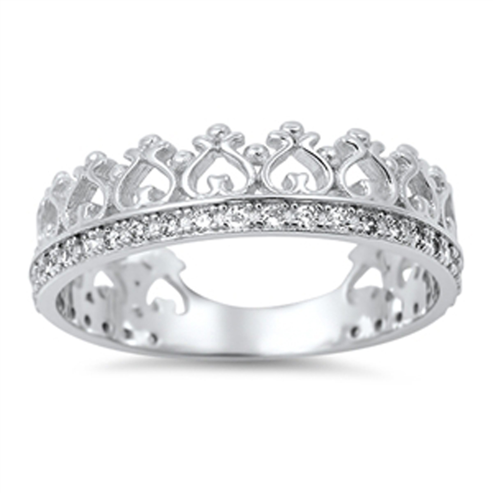 Details About Princess Crown Tiara Clear Cz Love Ring New  (View 12 of 25)