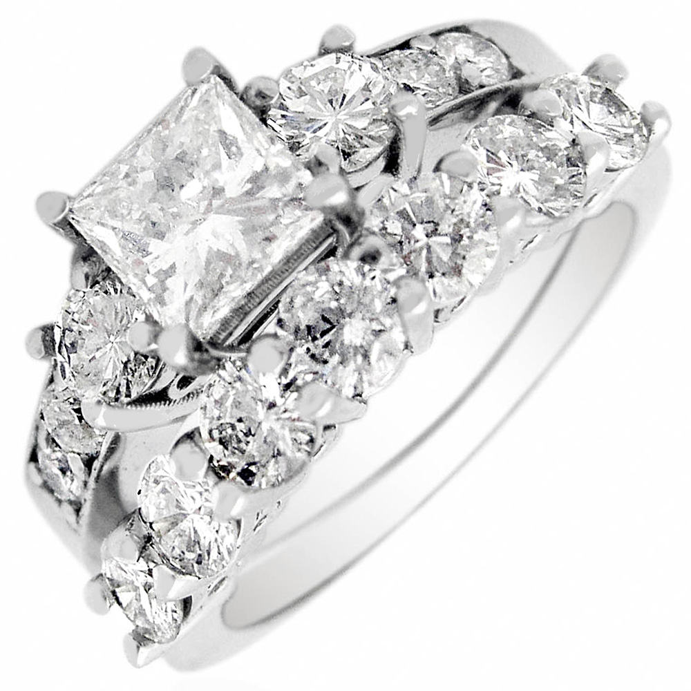 Details About Princess & Round Cut Diamond 2.45 Ct Gia Certified Wedding  Band 18K White Gold For Current Certified Princess Cut Diamond Anniversary Bands In White Gold (Gallery 14 of 25)