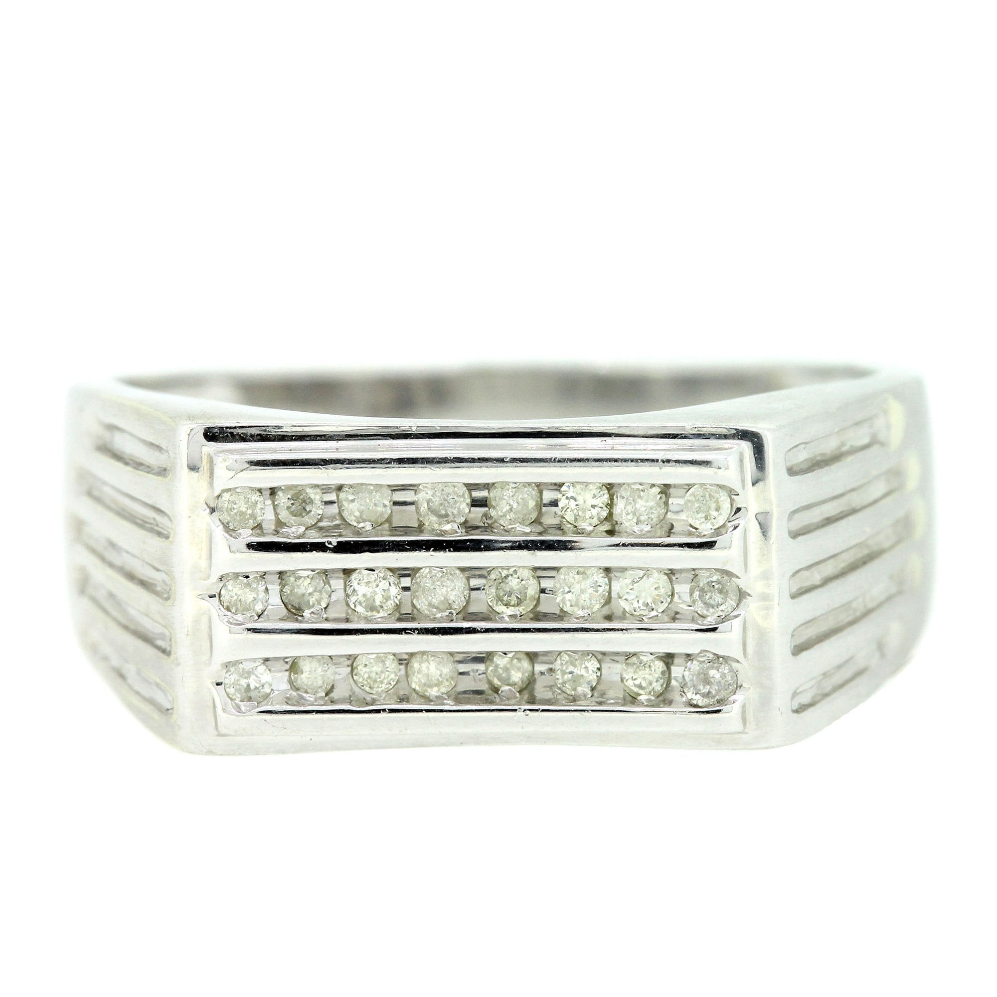 Details About Retro Style Mens 9Ct White Gold Three Row Diamond Set Signet  Ring Size V.5 Throughout Most Recently Released Diamond Vintage Style Three Row Anniversary Bands In White Gold (Gallery 19 of 25)