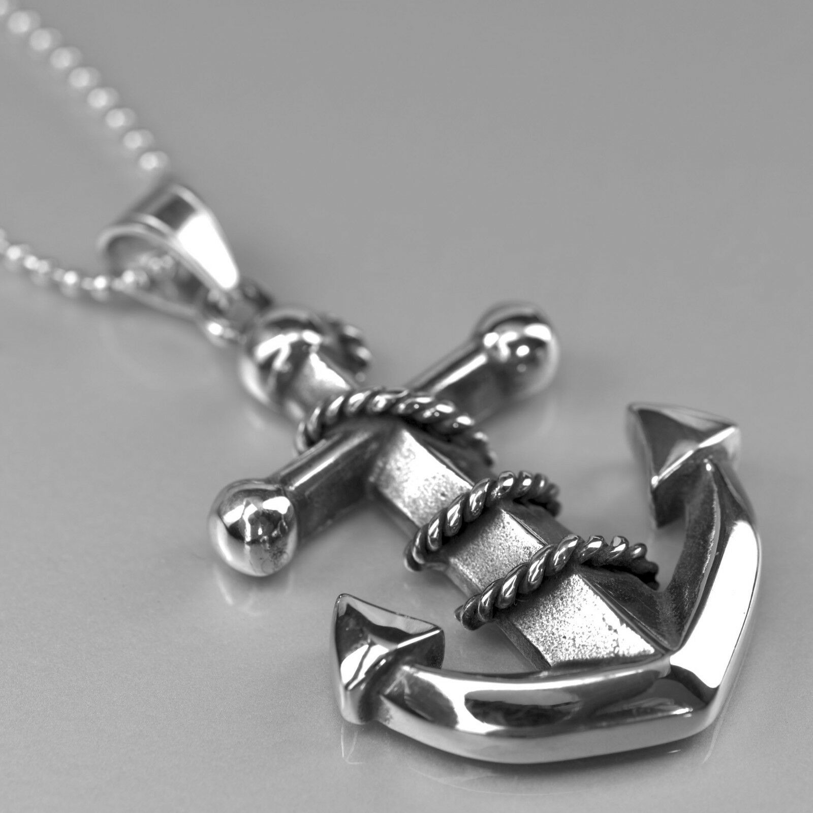 Details About Silver Anchor Pendant Stainless Steel Ball Chain Necklace Classic Design 24 Inch Intended For Most Recently Released Classic Anchor Chain Necklaces (View 2 of 25)