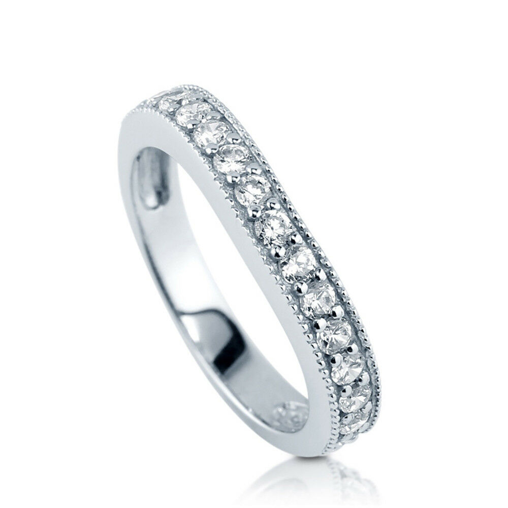 """Details About Sterling Silver .925 Cz Curved Women's Anniversary Wedding  Band Ring Size 4 10 Inside 2019 Diamond Seven Stone """"s"""" Anniversary Bands In Sterling Silver (Gallery 15 of 25)"""