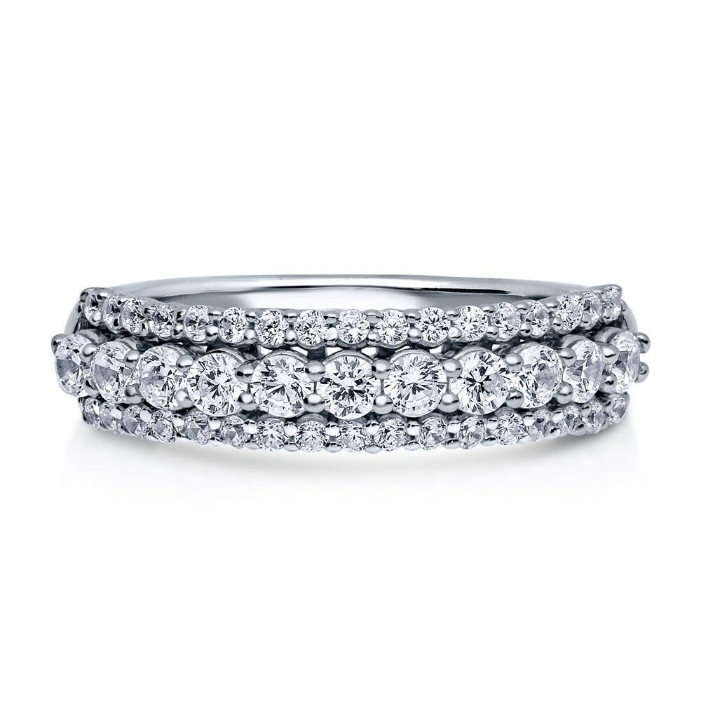 """Details About Sterling Silver .925 Women's Cz 3 Row Pave Anniversary  Wedding Band Ring Sz 4 10 Regarding Most Popular Diamond Seven Stone """"s"""" Anniversary Bands In Sterling Silver (Gallery 20 of 25)"""