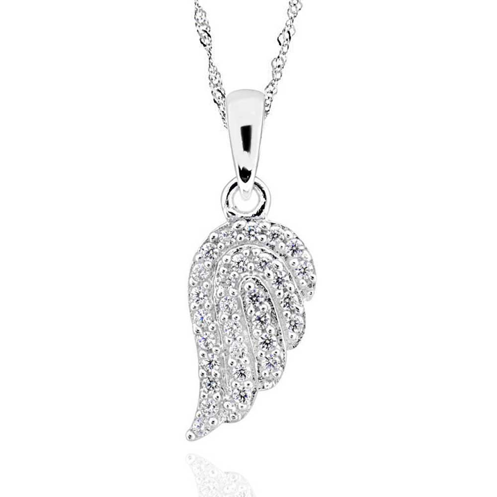 """Details About Sterling Silver Cubic Zirconia Angel Wing Pendant Necklace  17"""" Chain Intended For Most Current Pavé Angel Wing Locket Element Necklaces (View 13 of 25)"""