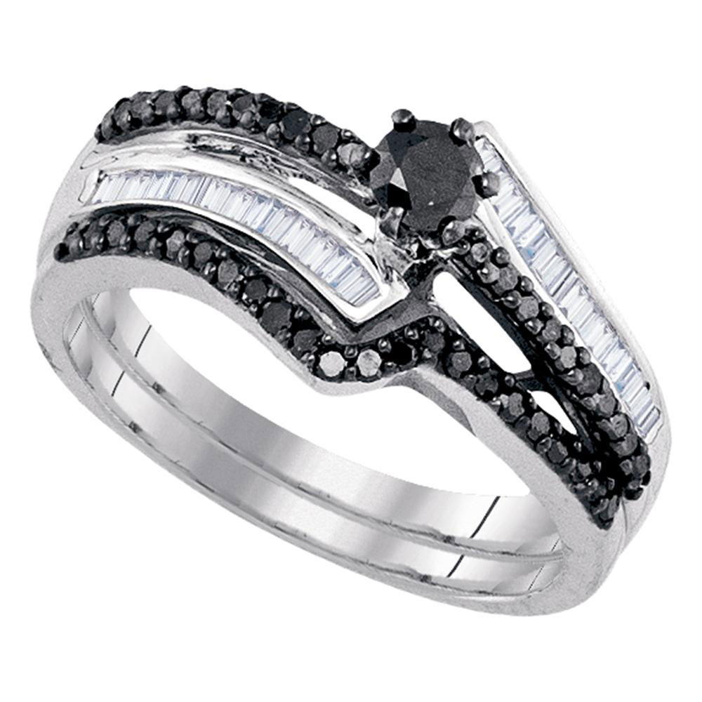 Details About Sterling Silver Round Black Diamond Bridal Wedding Engagement  Ring Set 5/8 Ctw Regarding Most Recent Enhanced Black Diamond Anniversary Bands In Sterling Silver (Gallery 4 of 25)