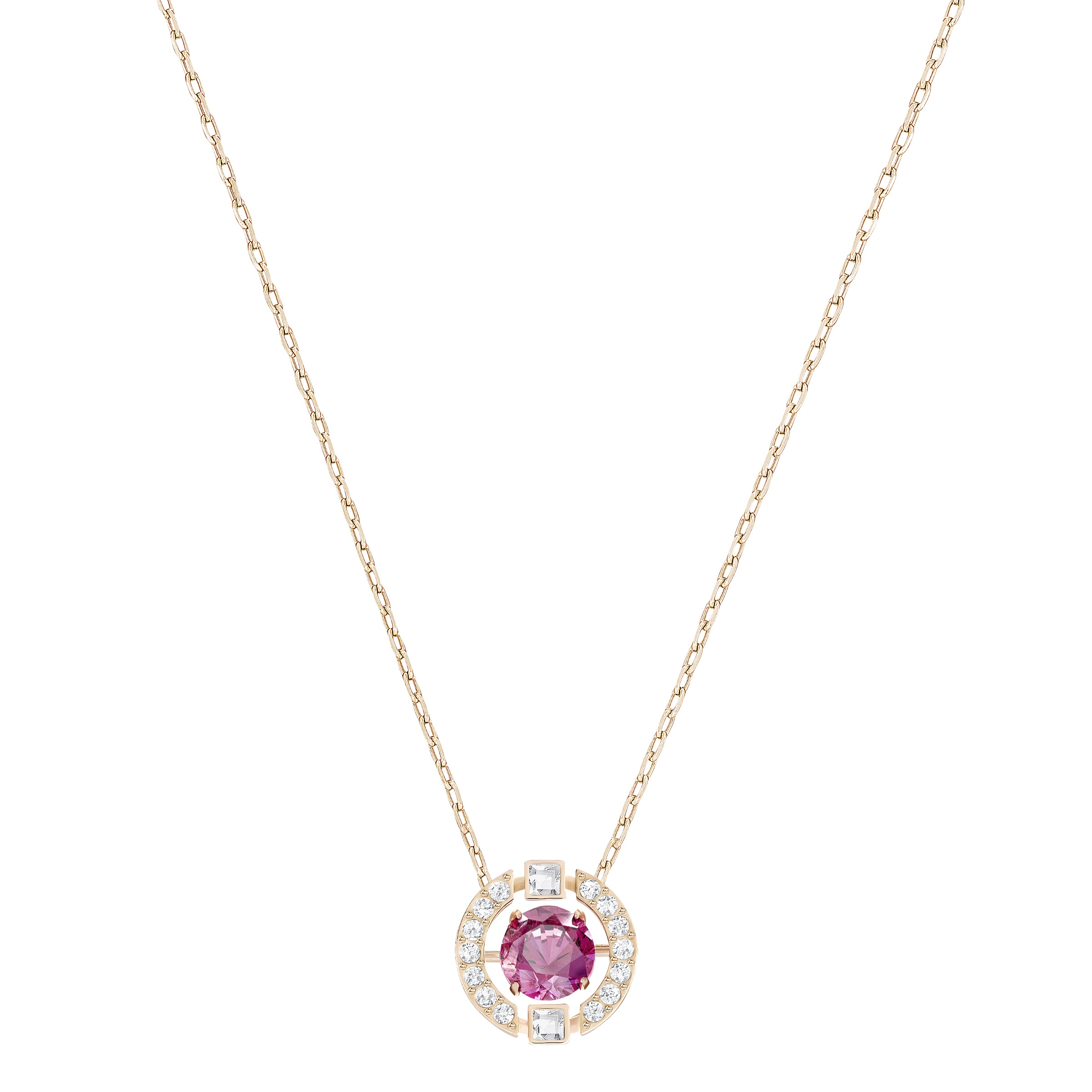 Details About Swarovski Sparkling Dance Round Necklace, Red 5279421 Inside Most Current Sparkling Lioness Heart Pendant Necklaces (View 12 of 25)
