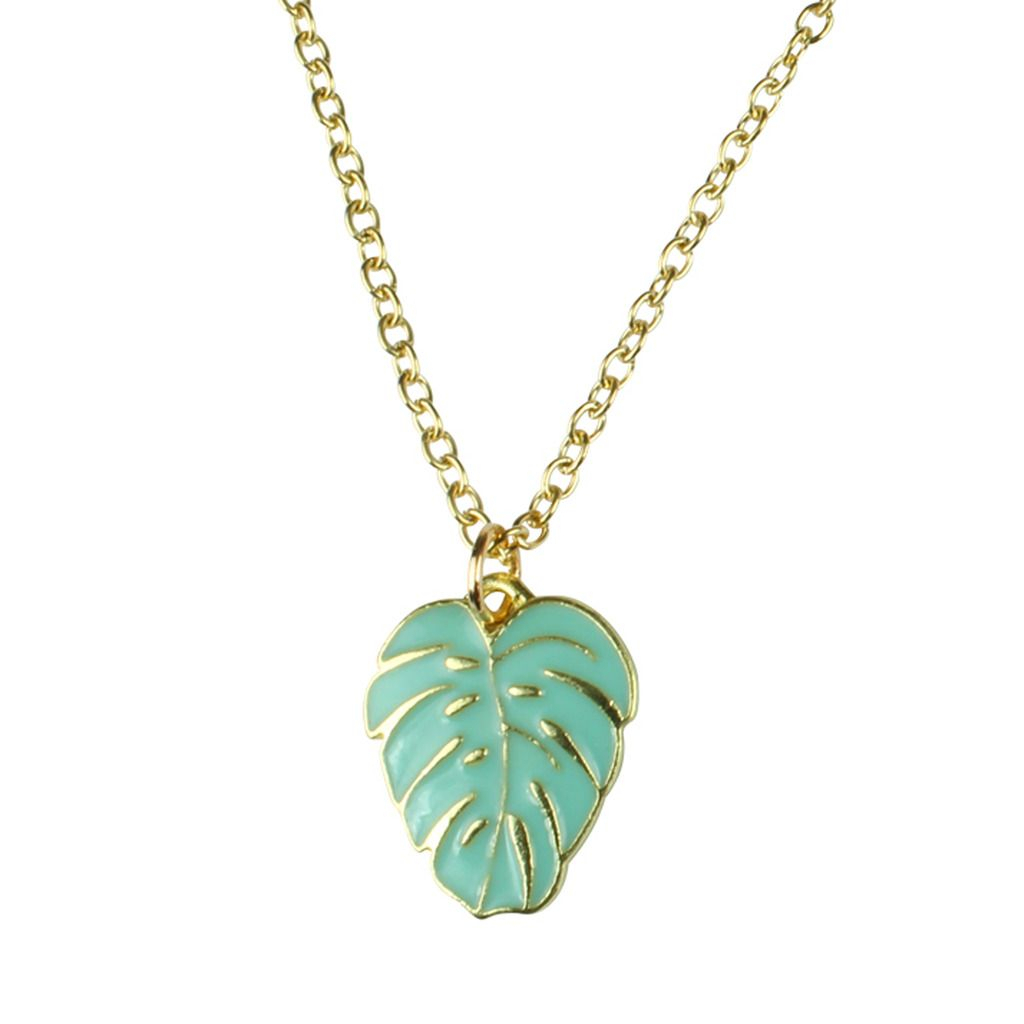 Details About Tfb – Tropical Palm Leaf Necklace Funky Quirky Novelty Flower Plant Vintage Fun For Most Up To Date Tropical Palm Pendant Necklaces (View 8 of 25)