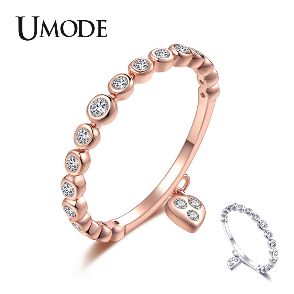 Details About Umode Wedding Rings Crystal Heart Fashion Jewelry Lover  Zircon Engagement Ring Inside Latest Wheat Grains Wishbone Rings (View 12 of 25)